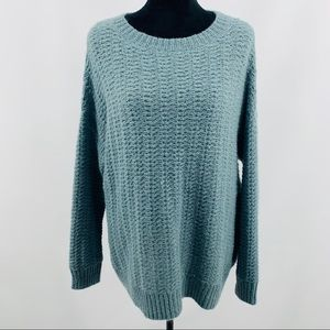 BDG Blue Thick Knit Oversized Long Sleeve Sweater